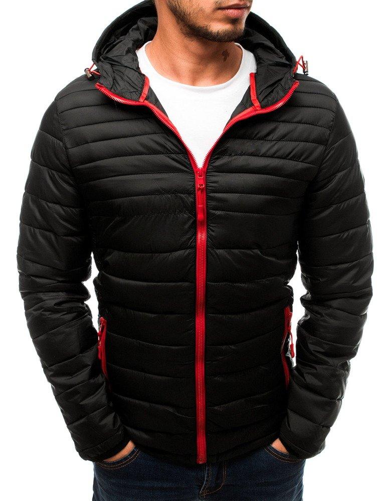 Čierna pánska bunda s kapucňou (tx2720)