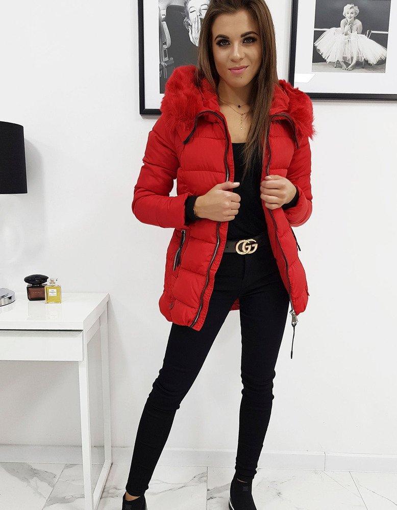 Dámska zimná prešívaná bunda  červená