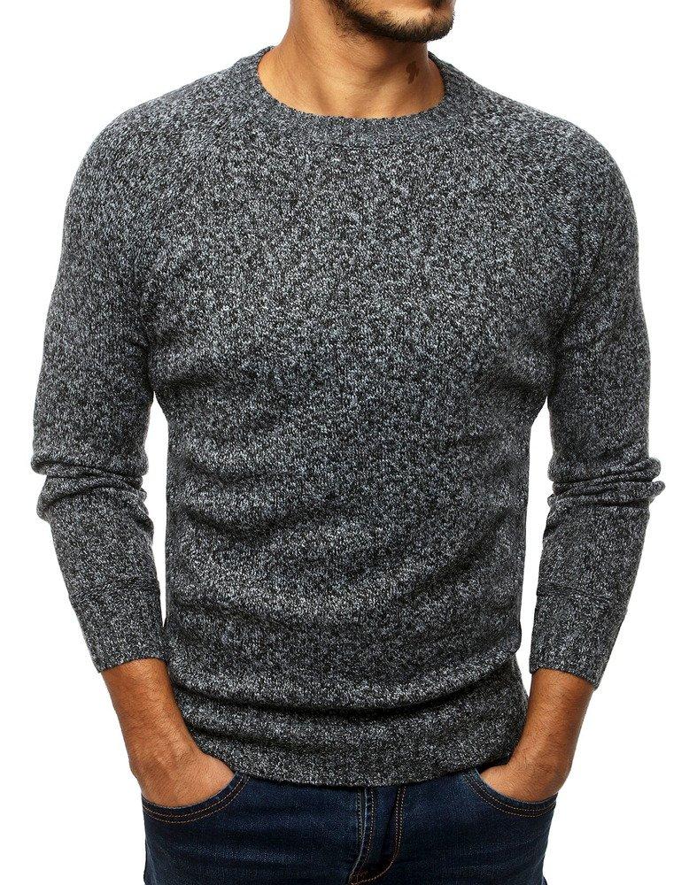 Pánsky sveter sivý zo záplatami