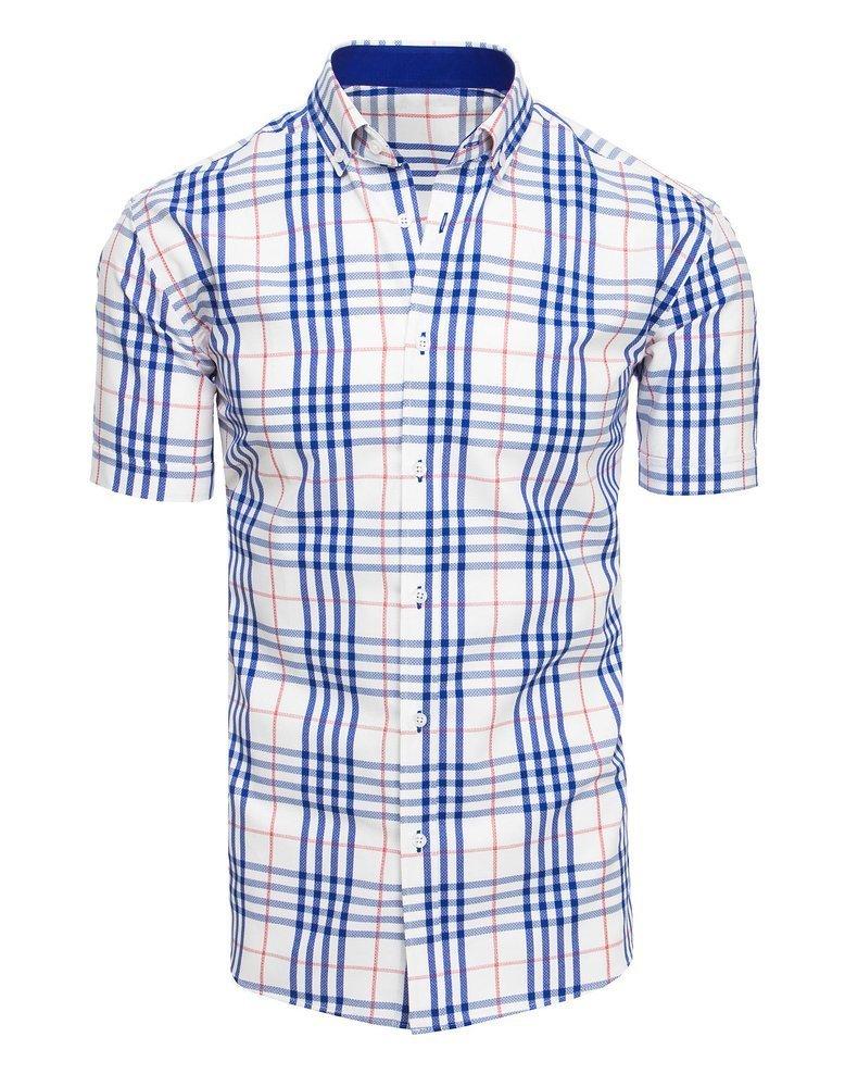 Biała koszula męska w kratę z krótkim rękawem KX0925 Dstreet