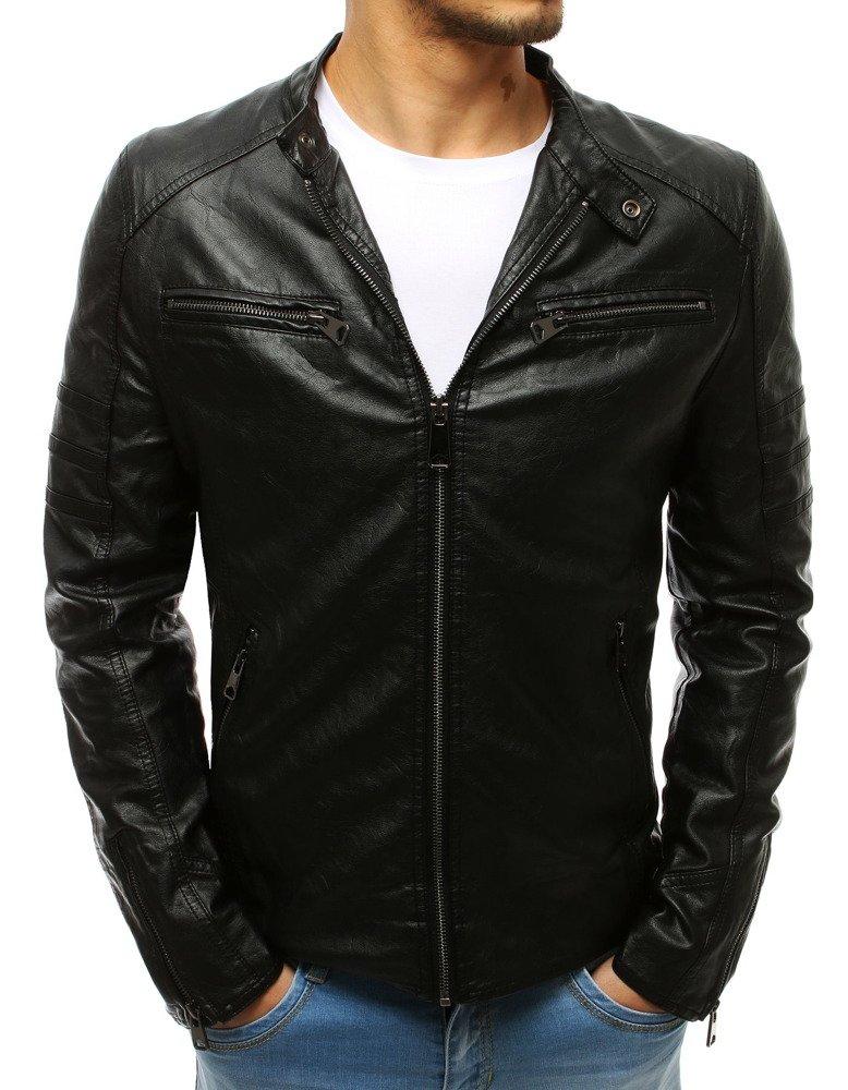 Pánska čierna kožená bunda (tx2647)