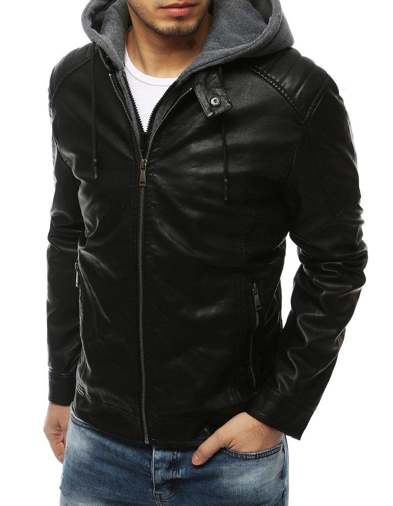 Koženková pánska bunda s kapucňou TX3198