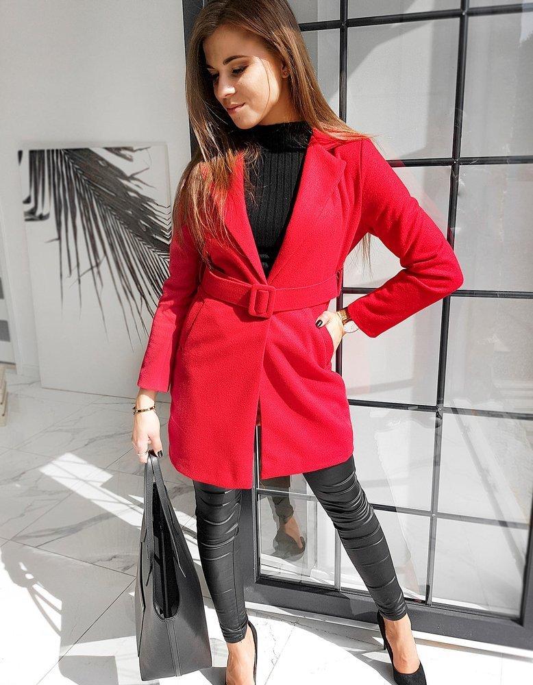 Płaszcz damski jednorzędowy DARIO czerwony NY0370