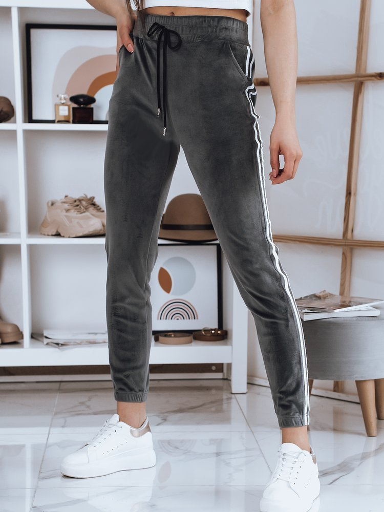 Spodnie damskie welurowe JAMES grafitowe Dstreet UY0797