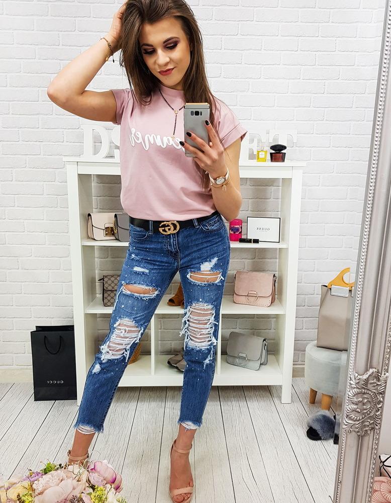 Spodnie damskie jeansowe niebieskie UY0169