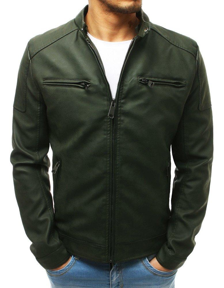 Pánska zelená kožená bunda (tx2657)