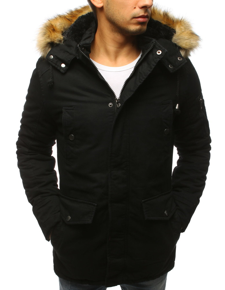 Čierna pánska bunda na zimu (tx2457)