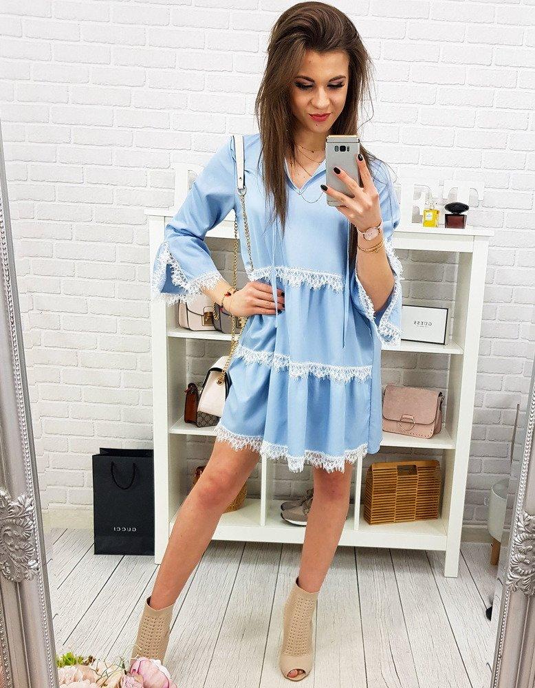 Modré dámske šaty s volánmi (ey0819)