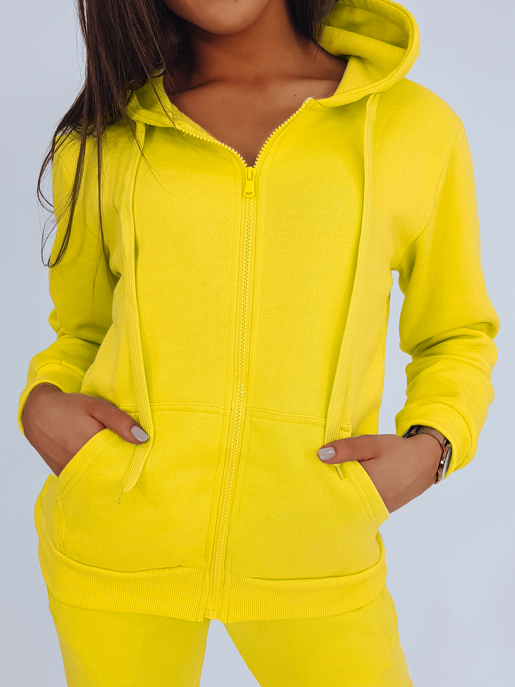 Bluza damska rozpinana z kapturem żółta BY0234