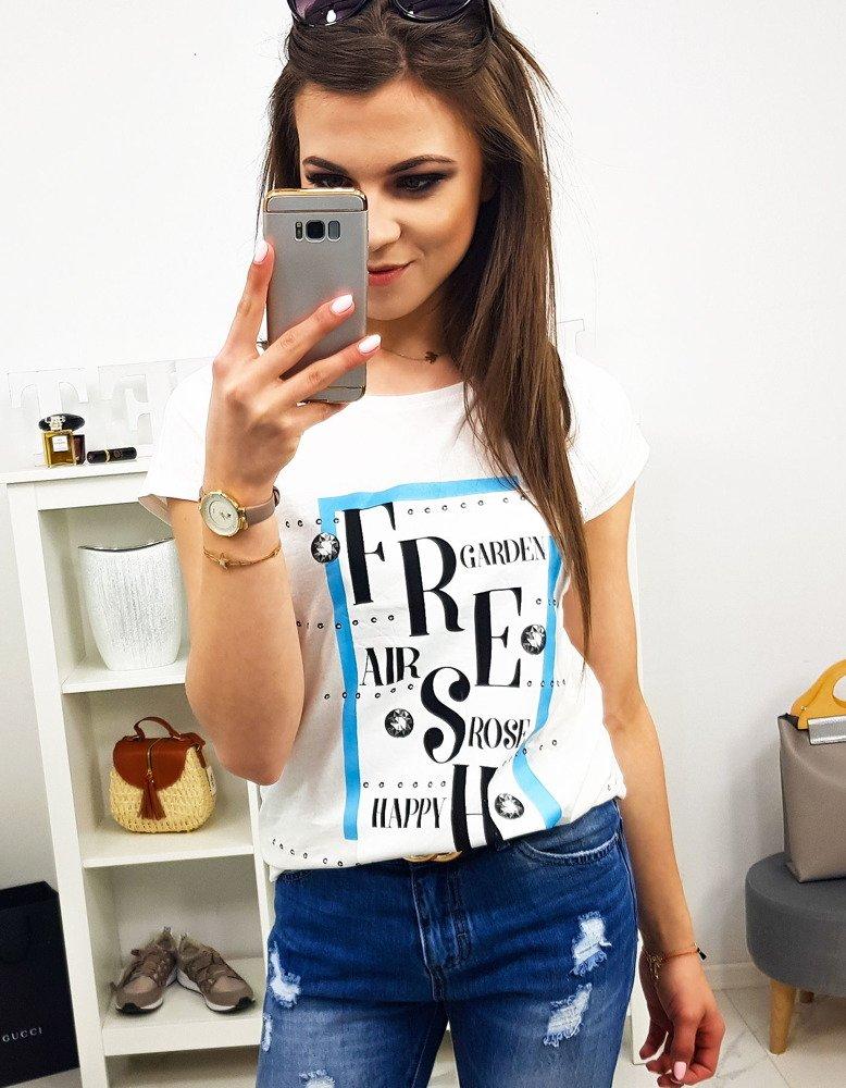 T-shirt damski FRESH z nadrukiem śmietankowy (ry0894)