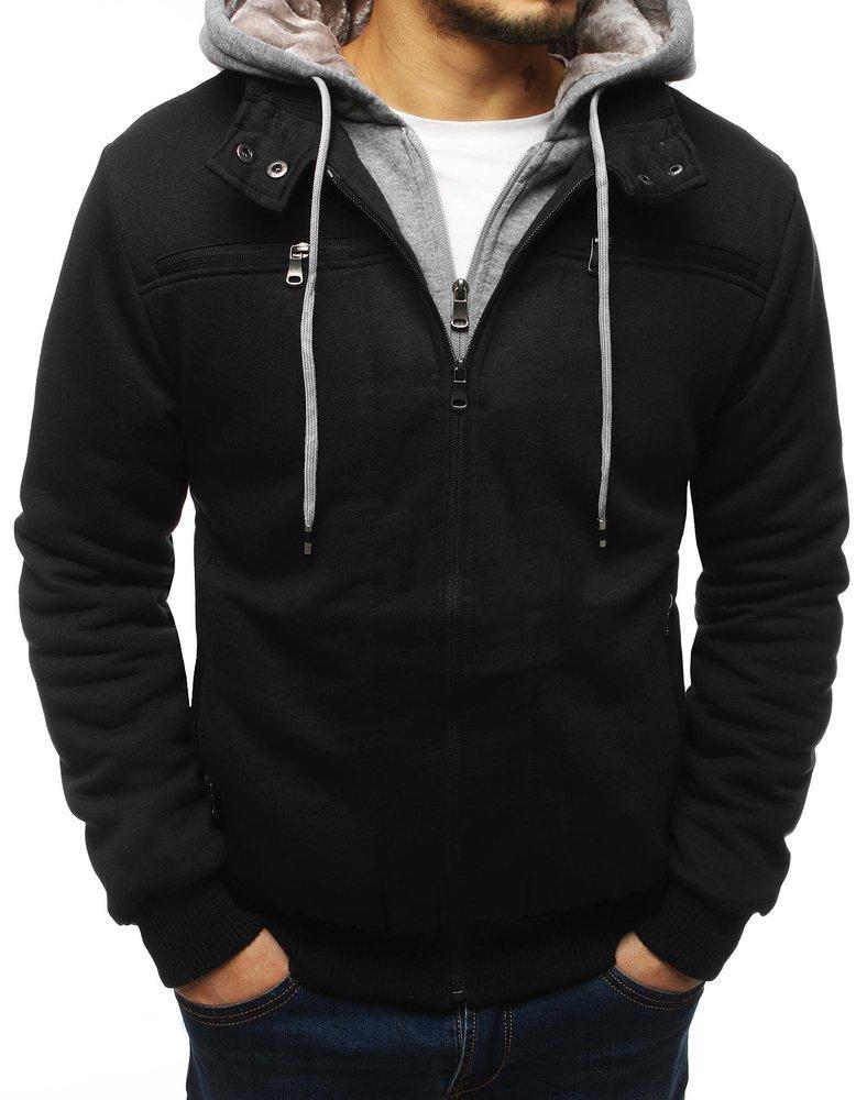 Bluza męska ocieplana z kapturem czarna TX3068