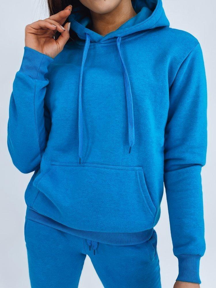 Bluza damska BASIC z kapturem błękitna BY0320