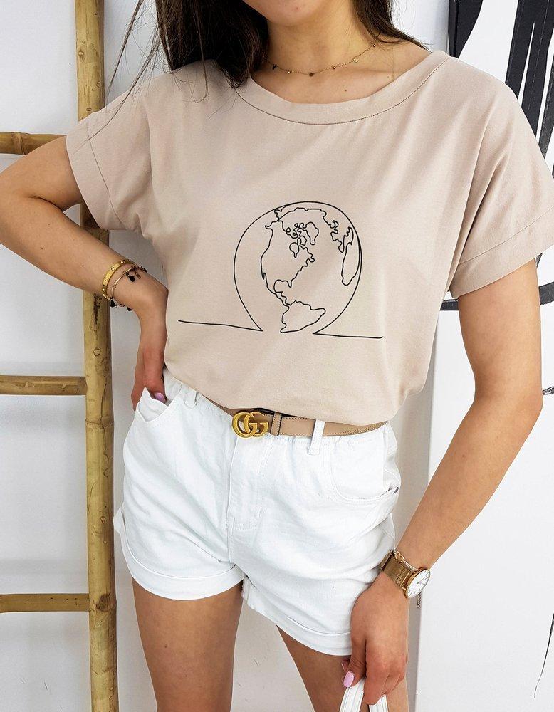 T-shirt damski GLOBE beżowy RY1555