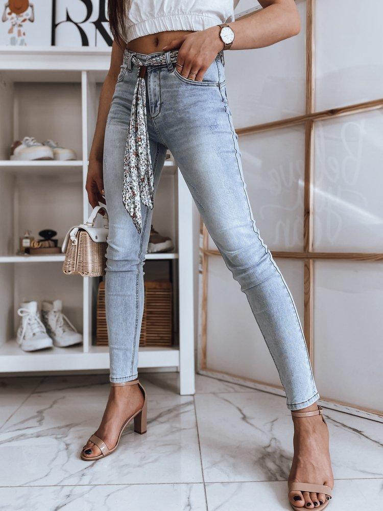 Spodnie damskie jeansowe FLOWERS niebieskie Dstreet UY0852