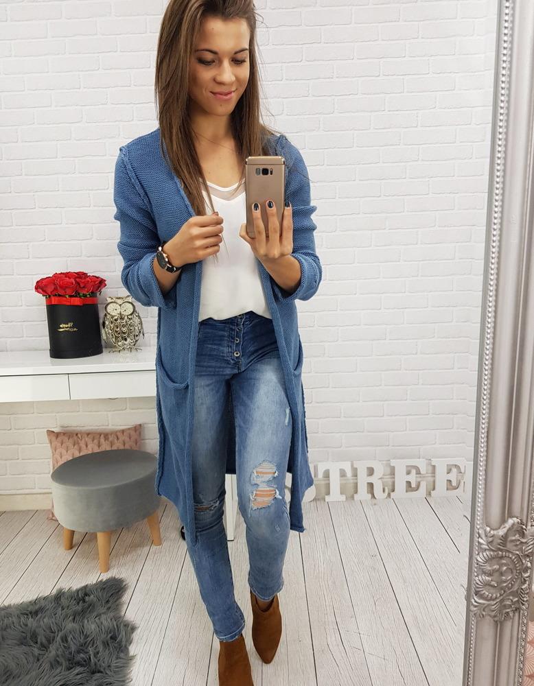 Modrý praktický dámsky sveter (my0419)