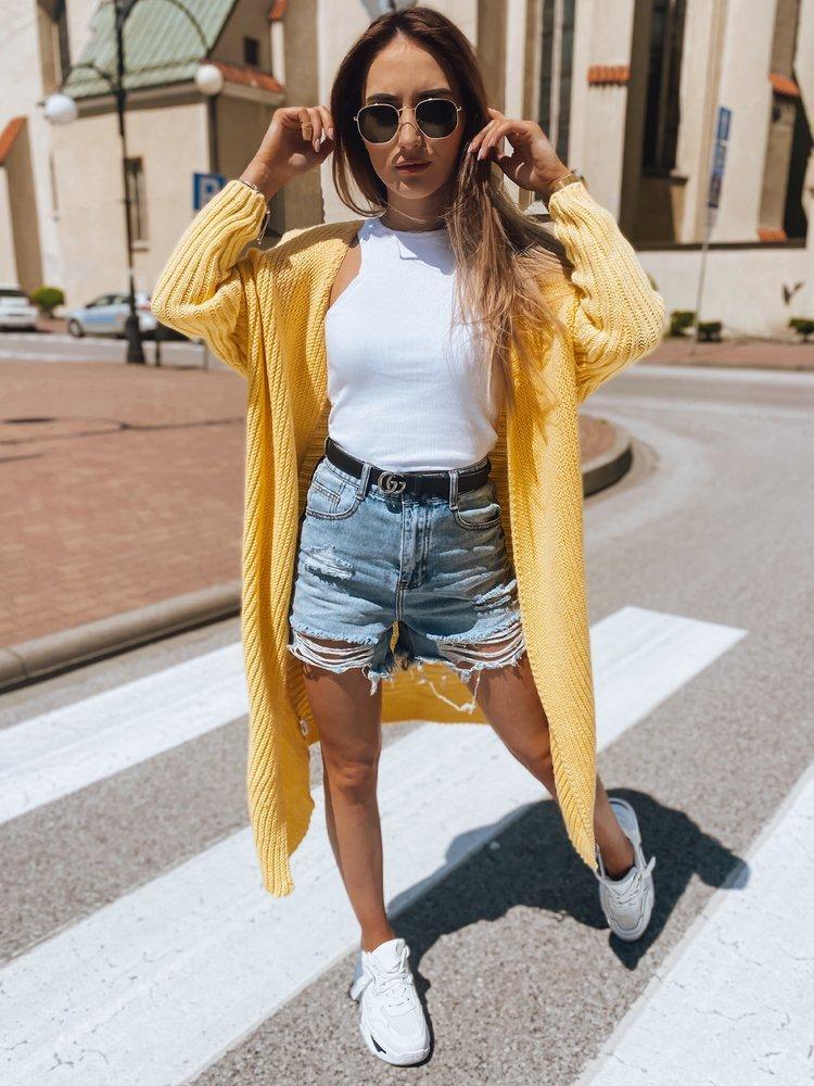 Žltý dlhý dámsky sveter BARTERO MY0769