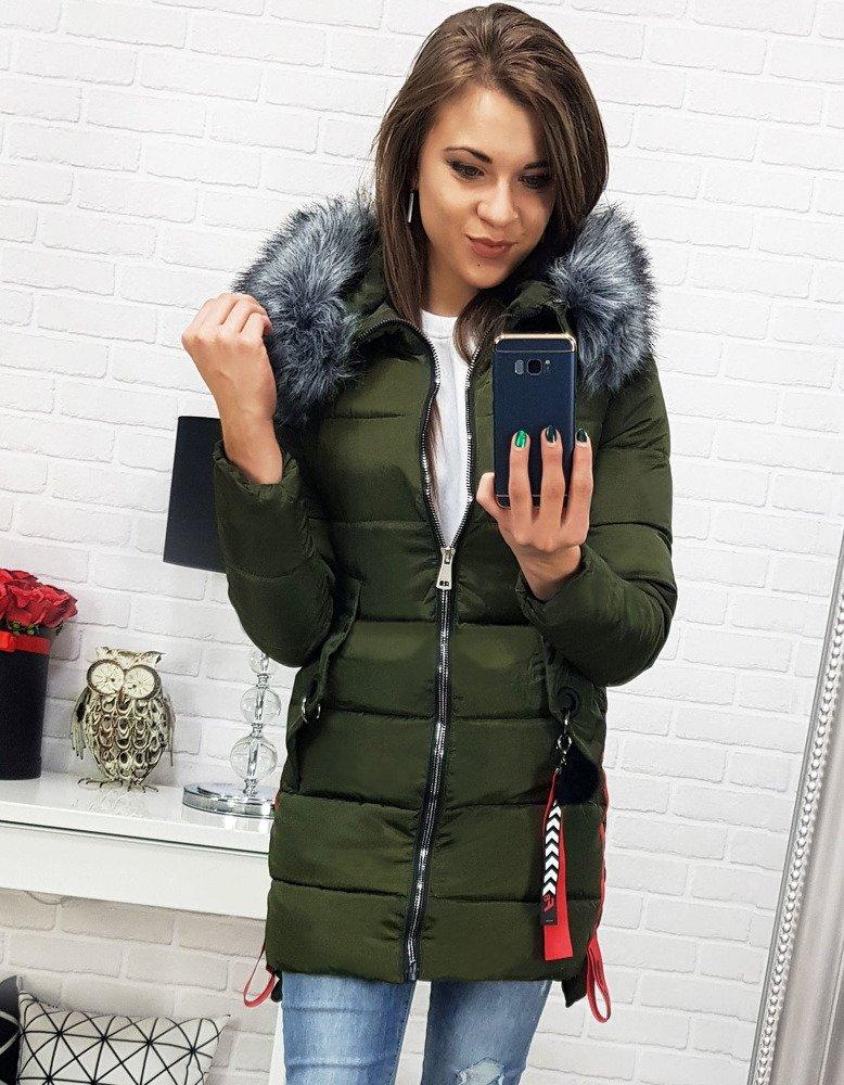 Zimná khaki dámska bunda (ty0482)