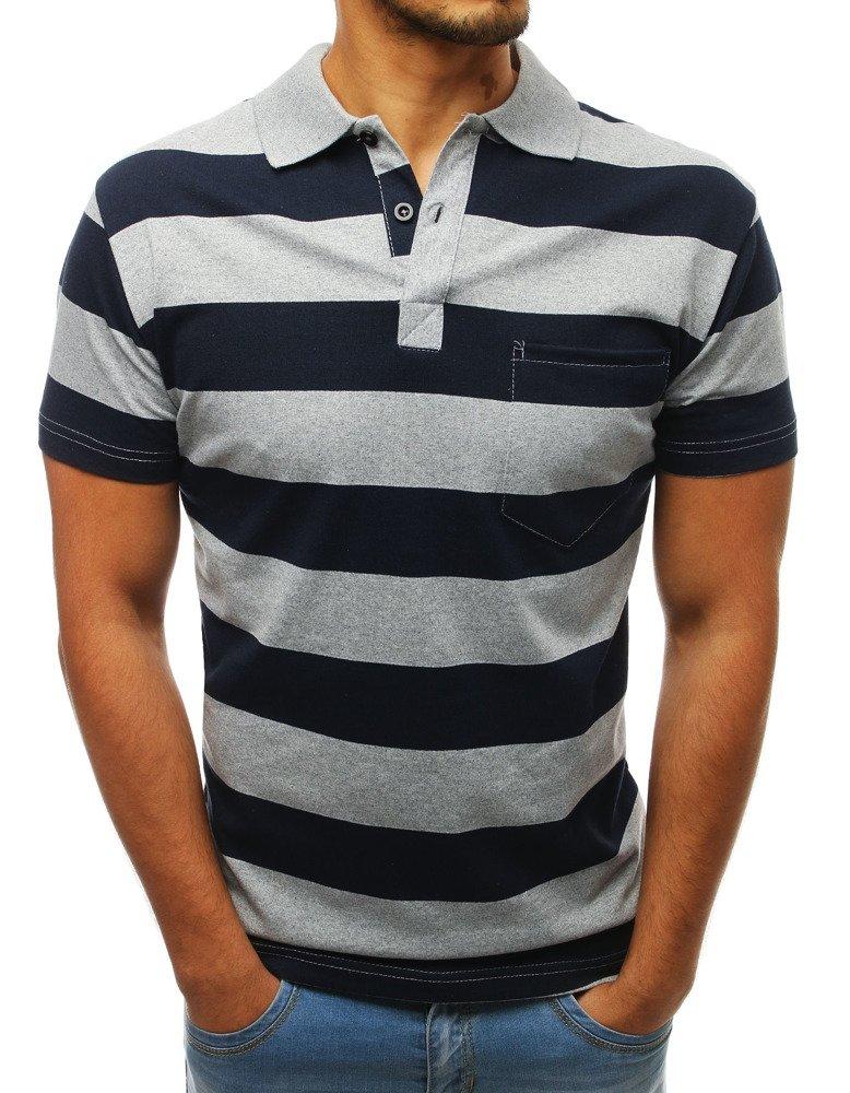 Pánske polo tričko v sivej a tmavomodrej farbe