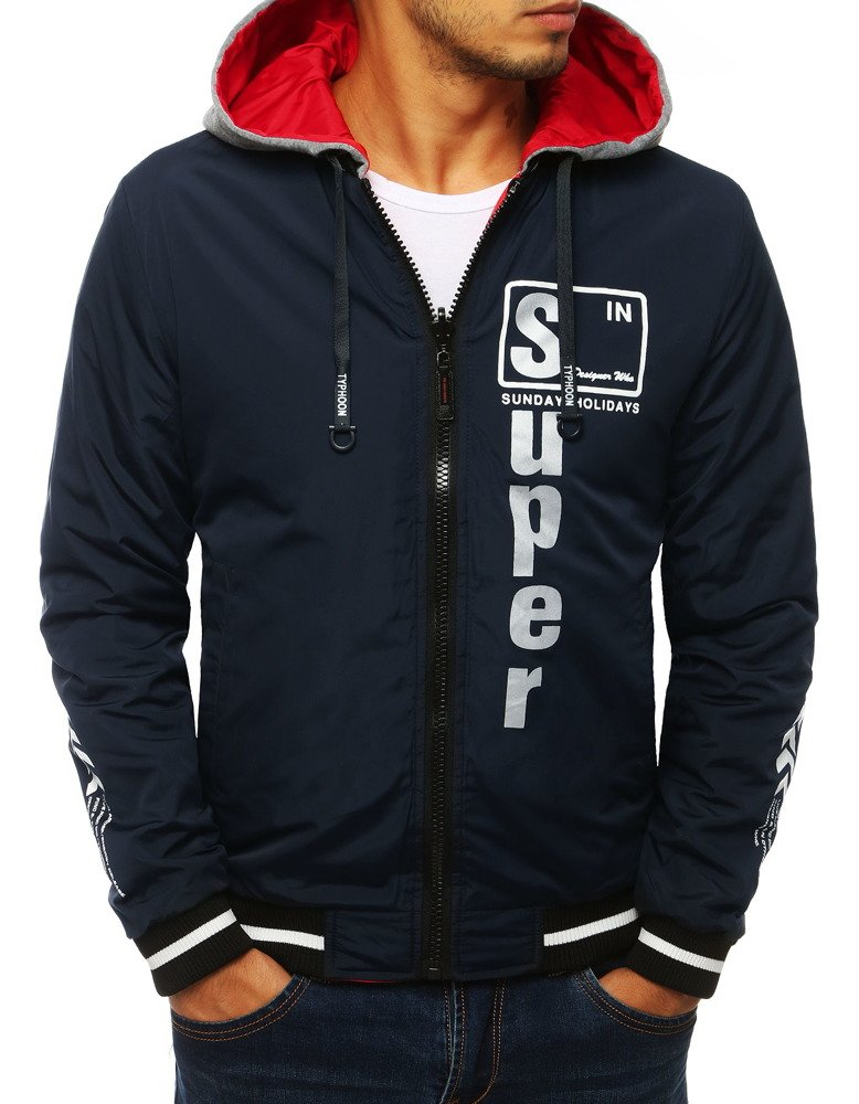 Obojstranná pánska bunda s kapucňou / námornícka modrá