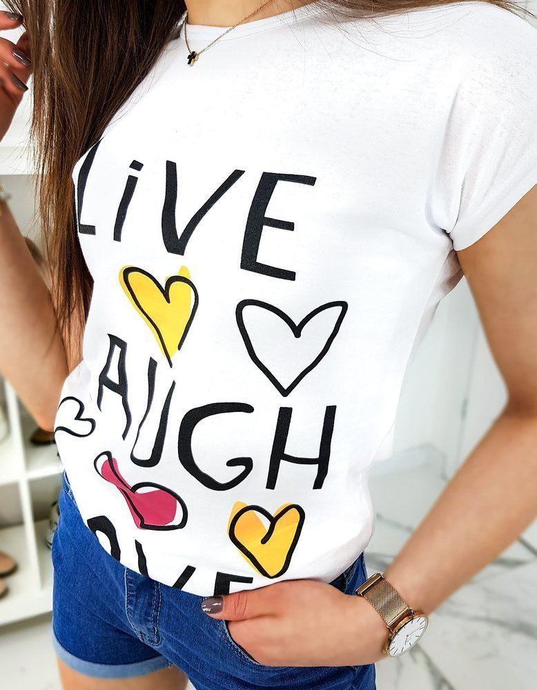 T-shirt damski LIVE biały Dstreet RY1325