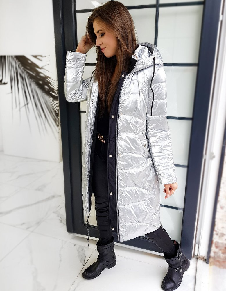 Płaszcz damski pikowany ELLE srebrny TY1359