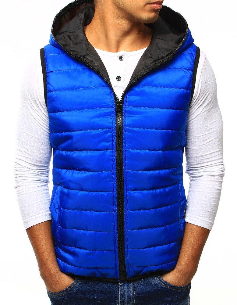 Pánska vesta s kapucňou svetlo modrá