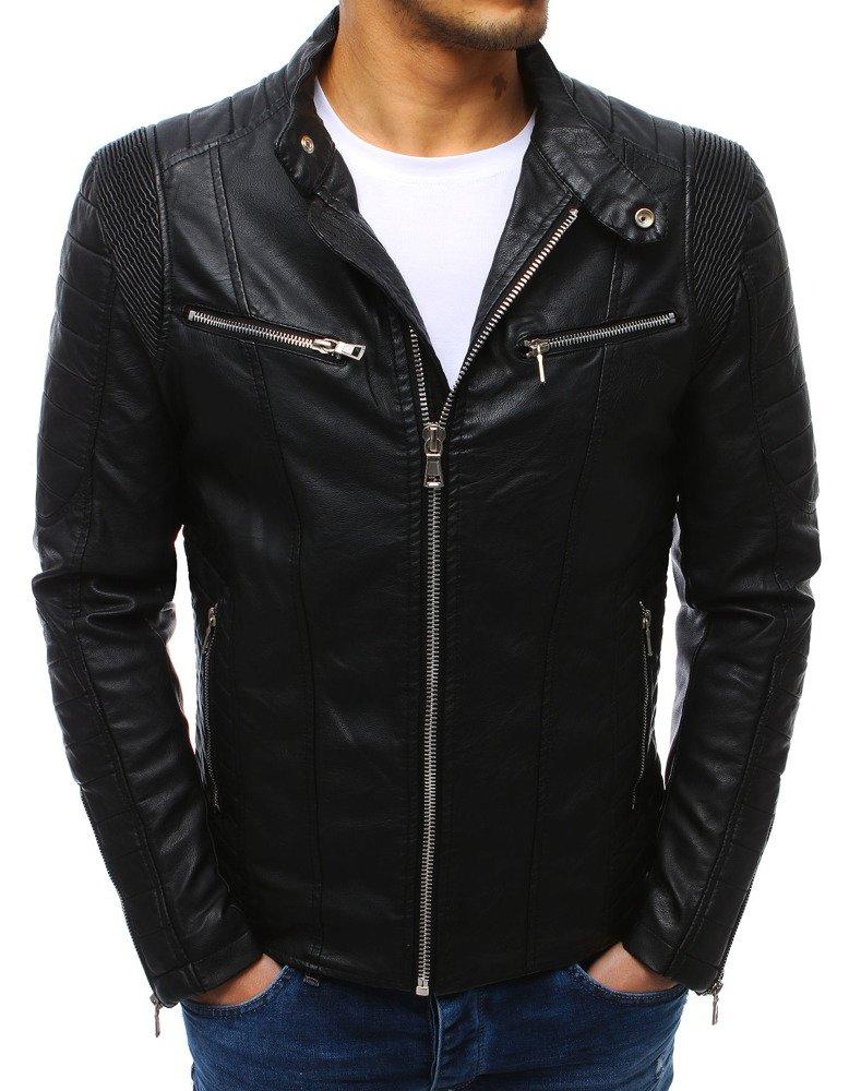 Pánska čierna kožená bunda (tx2584)