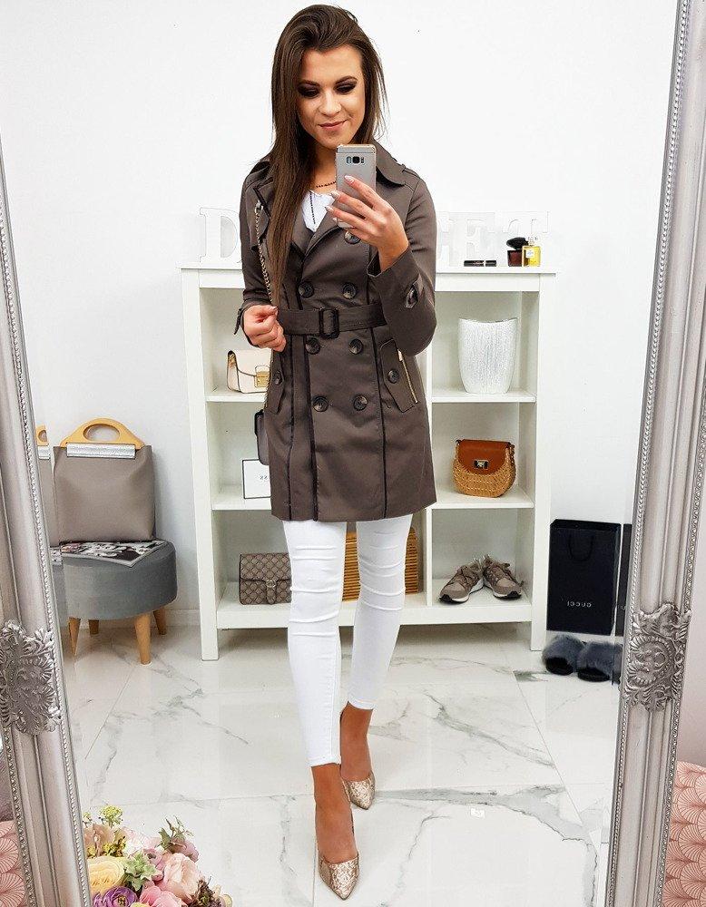 Dámsky jarný kabát hnedý