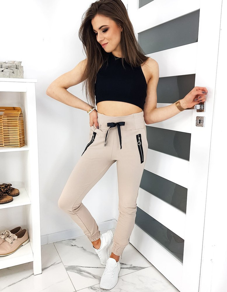 Spodnie damskie dresowe METEOS beżowe UY0346