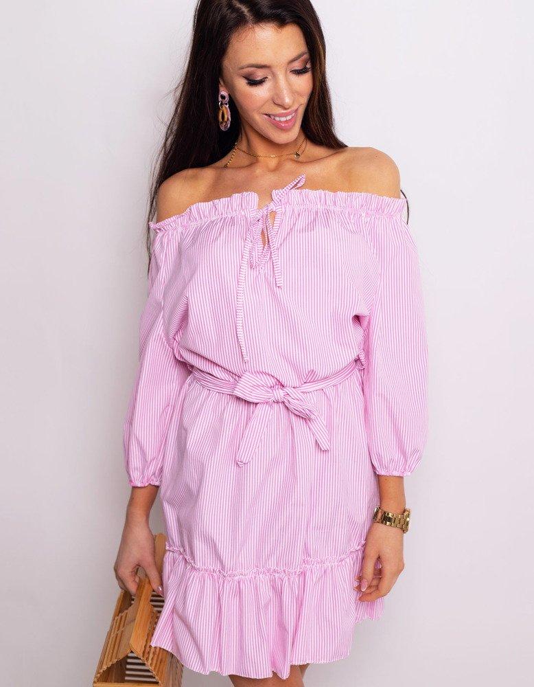 Sukienka hiszpanka NATHALIE różowa w paski EY0764