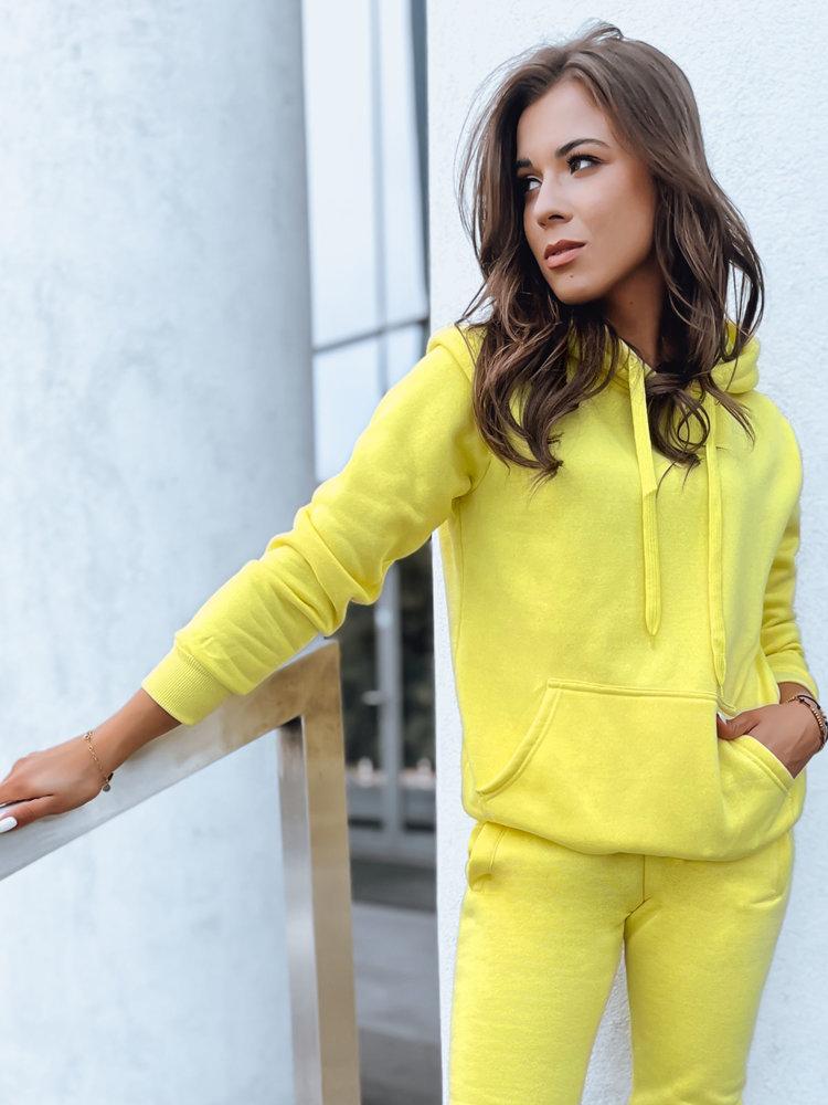 Bluza damska BASIC z kapturem żółta BY0285
