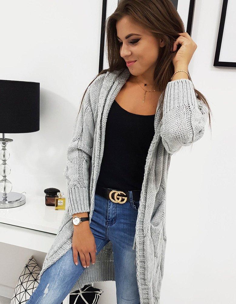Dámsky dlhý sveter s kapucňou EMERALD (my0281)