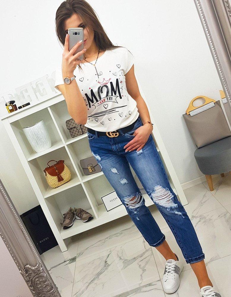 T-shirt damski MOM z nadrukiem śmietankowy (ry0785)