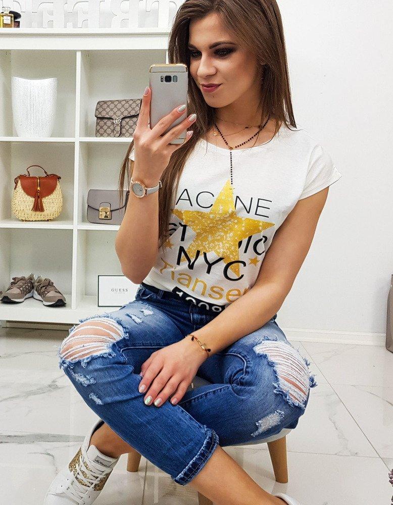 T-shirt damski STAR z nadrukiem śmietankowy RY0865