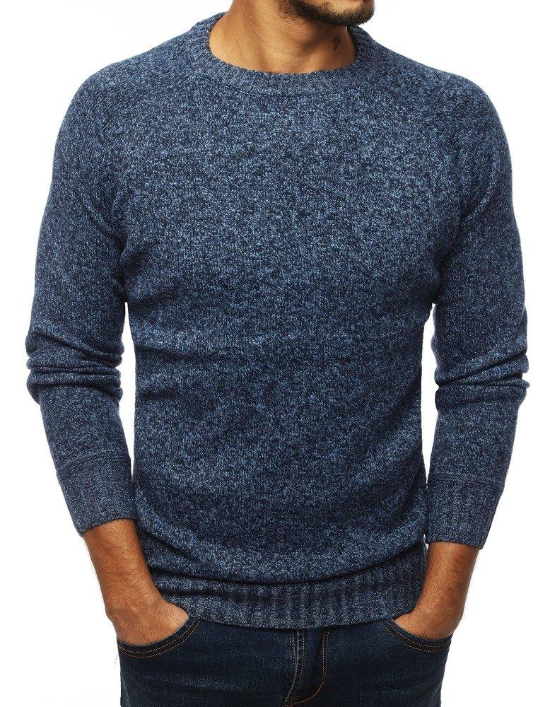 Pánsky modrý sveter zo záplatami