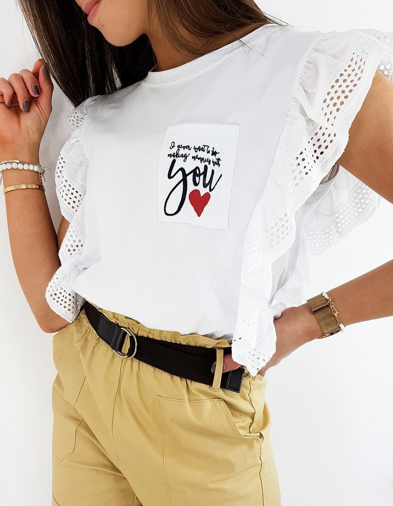 Bluzka damska LOVE YOU biała RY1391