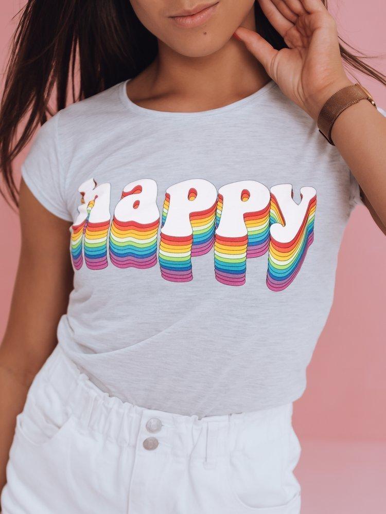 T-shirt damski HAPPY jasnoszary Dstreet RY1849