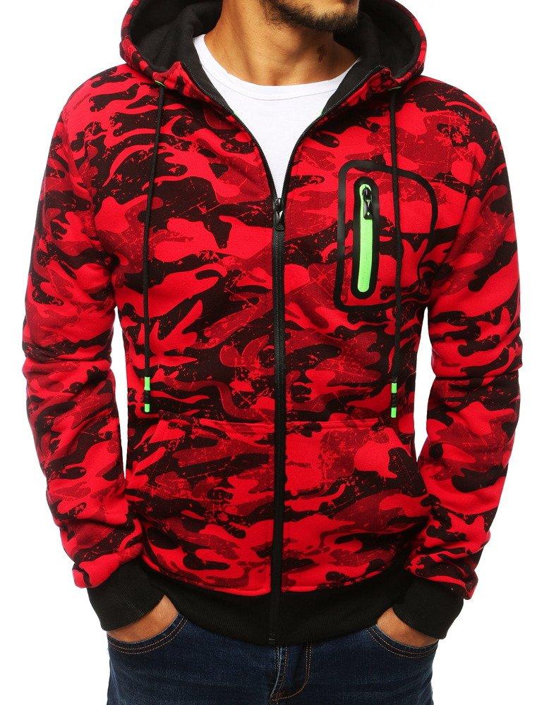 Bluza męska rozpinana z kapturem camo czerwona BX4038