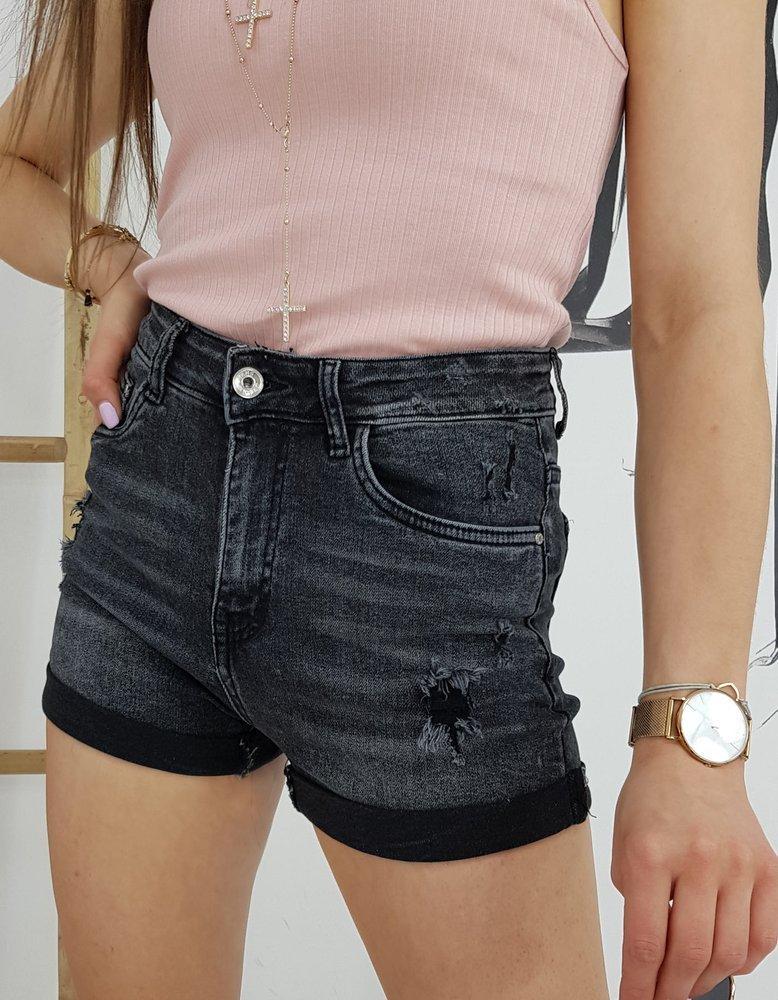 Szorty damskie jeansowe MEFINITY czarne SY0200