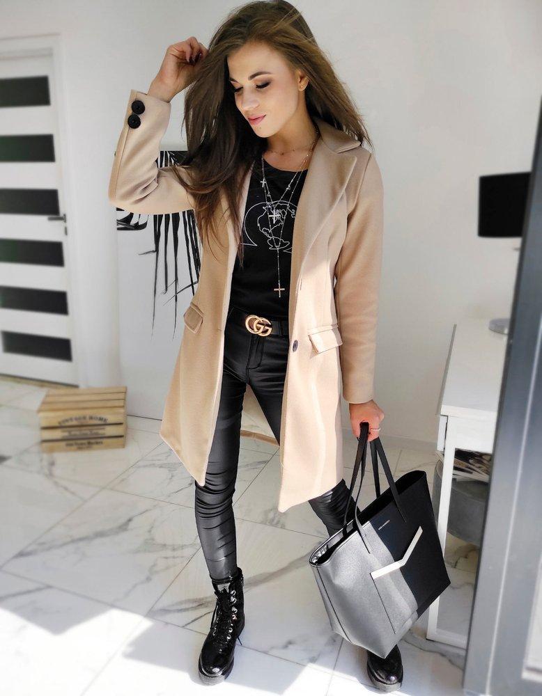 Płaszcz damski jednorzędowy DIVA beżowy NY0388