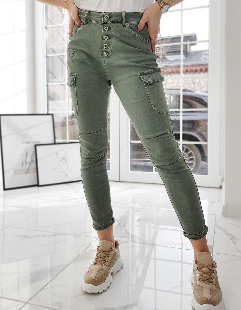 Spodnie damskie ZOE oliwkowe UY0729