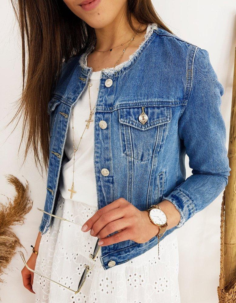 Kurtka damska jeansowa CHANELLES niebieska TY1234