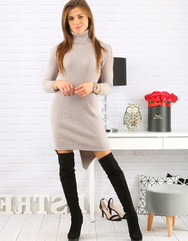 Béžové dámske pletené šaty (ey0581)