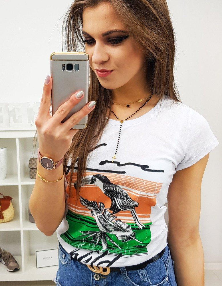 T-shirt damski PELIKAN z nadrukiem biały RY0749