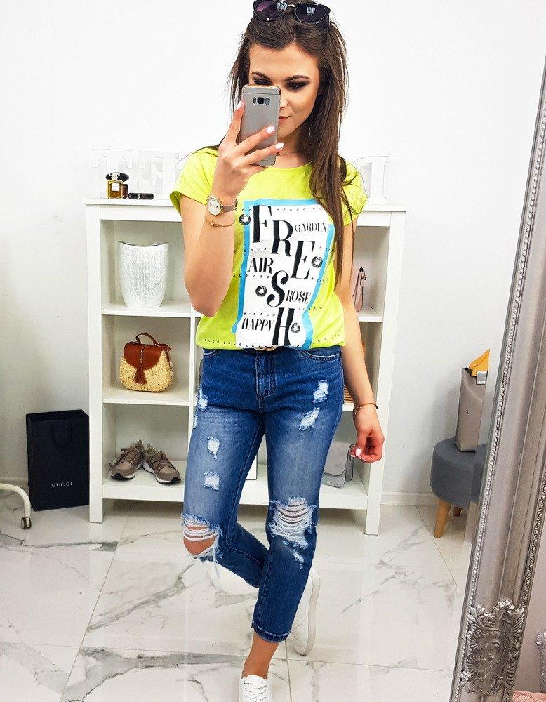T-shirt damski FRESH z nadrukiem limonkowy (ry0895)