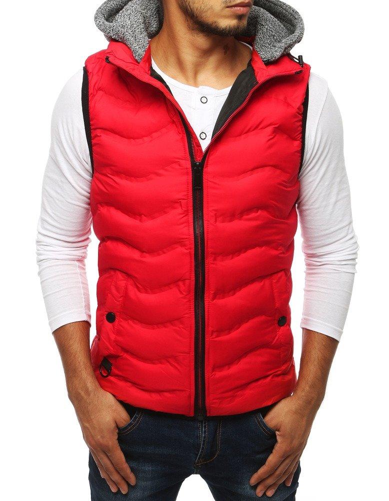 Panská prešívaná vesta s kapucňou červená