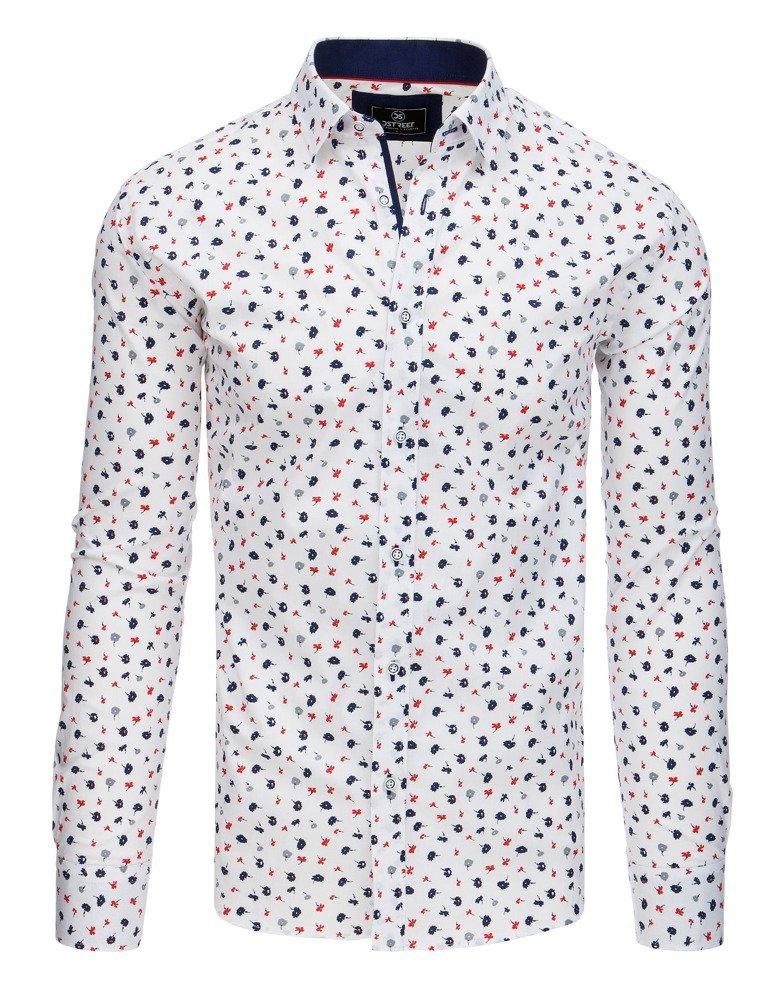 Pánska košeľa s dlhým rukávom vzorovaná biela