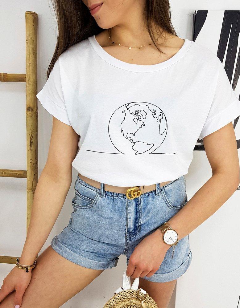 T-shirt damski GLOBE biały RY1556