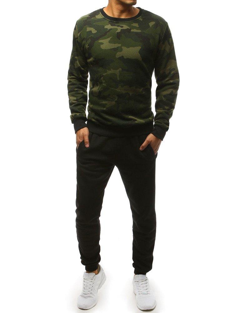 Pánska zeleno-čierna tepláková súprava (ax0158)