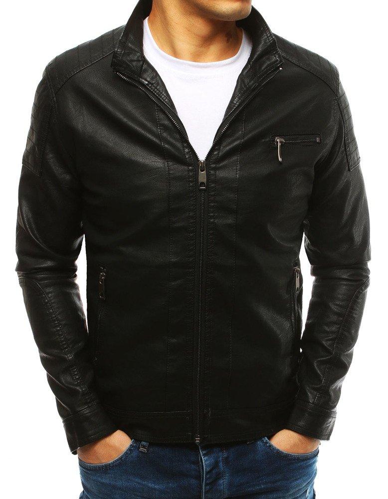 Pánska koženková čierna bunda (tx2631)